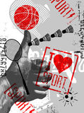 I love sport. Vintage grunge style sport poster. Retro vector illustration. Royalty Free Stock Photography