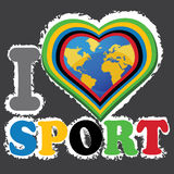 I love sports and the Earth in heartform. Vector Stock Image