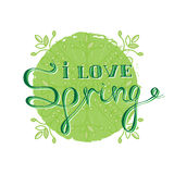 I love Spring - green card design with floral line elements. Vec. Tor illustration with Lettering royalty free illustration
