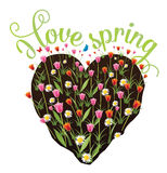 I love spring heart shaped flower garden vector illustration