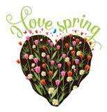 I love spring heart shaped flower garden Royalty Free Stock Photo