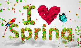 I Love Spring leaves particles 3D Stock Photo