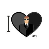 I love spy. Man in black glasses and dressed in a symbol of   he Stock Photos