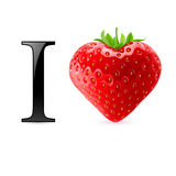 I love strawberry. Message with heart-shaped berry Royalty Free Stock Photos