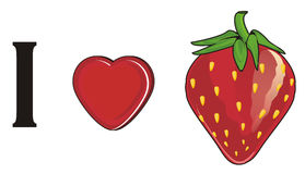 I love strawberry. Red strawberry with red heart and letter i Royalty Free Stock Photo