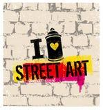 I Love Street Art Creative Vector Bright Poster Concept Royalty Free Stock Photos