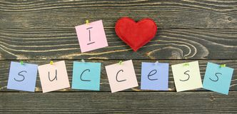 I love success on wood background Royalty Free Stock Image
