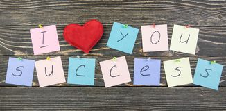 I love success on wood background Royalty Free Stock Photo
