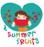 I love summer fruits. Cartoon girl eat summers fruits. Hand drawn vector illustration Royalty Free Stock Photography