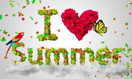 I Love Summer leaves particles 3D. Digital art Stock Photos
