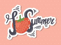 I love summer lettering. Vector hand drawn lettering I love summer. Strawberry as a heart. Design for a website, t-shirt, postcard Stock Images