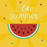 I love summer lettering on a yellow with sun rays Royalty Free Stock Photo