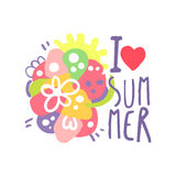 I love Summer logo template original design, colorful hand drawn vector Illustration with floral elements. For stickers, banners, cards, advertisement, tags Stock Image