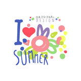 I love Summer logo template original design, colorful hand drawn vector Illustration with floral elements. For stickers, banners, cards, advertisement, tags Stock Photo