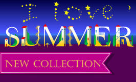 I love Summer. New Collection. Inscription. Holiday houses Font Royalty Free Stock Image