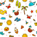 I love summer. Seamless summer pattern with hand drawn beach ico Stock Images