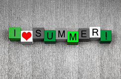 I Love Summer, sign series for growing season and gardeners Stock Photos