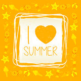 I love summer with signs in square frame, yellow drawn label Royalty Free Stock Image