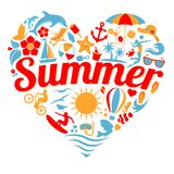 I Love Summer. Summer heart shape illustration in eps format royalty free illustration