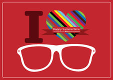 I love summer with sunglasses illustration Stock Image