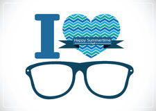 I love summer with sunglasses illustration Royalty Free Stock Photography