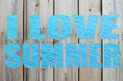 I love summer text with blue waves letters Royalty Free Stock Photo