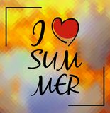 I love Summer typographic design on polygonal background Stock Images