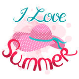I love summer vector illustration.  Lettering composition and su Stock Images