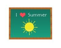 I love summer written in a blackboard Stock Image
