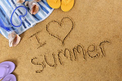 I love summer beach vacation message Royalty Free Stock Photo