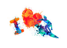 I love surfing. Splash paint sport illustration Royalty Free Stock Photo