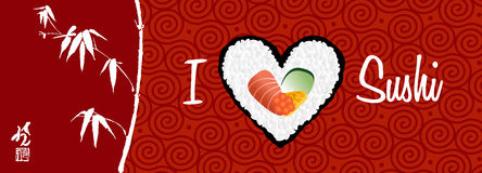 I love sushi banner background. I love sushi banner handwritten in white over red background. Vector file layered for easy manipulation and custom coloring Stock Images