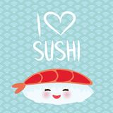 I love sushi. Kawaii funny Ebi Sushi with pink cheeks and big eyes, emoji. Baby blue background with japanese circle pattern. Vect stock illustration