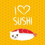 I love sushi. Kawaii funny Ebi Sushi and white cute cat with pink cheeks and eyes, emoji. Orange background with japanese circle p royalty free illustration