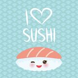 I love sushi. Kawaii funny Maguro Toro Sushi with pink cheeks and big eyes, emoji. Baby blue background with japanese circle patte stock illustration