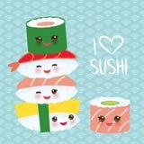 I love sushi. Kawaii funny sushi set with pink cheeks and big eyes, emoji. Blue background with japanese circle pattern. Vector. Illustration vector illustration
