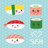 I love sushi. Kawaii funny sushi set with pink cheeks and big eyes, emoji. Blue background with japanese circle pattern. Vector stock illustration