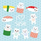 I love sushi. Kawaii funny Sushi set and white cute cat with pink cheeks and eyes, emoji. Baby blue background with japanese circl royalty free illustration