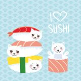 I love sushi. Kawaii funny Sushi set and white cute cat with pink cheeks and eyes, emoji. Baby blue background with japanese circl vector illustration