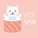 I love sushi. Kawaii funny sushi rolls and white cute cat with pink cheeks and eyes, emoji. Pink background with japanese circle p vector illustration