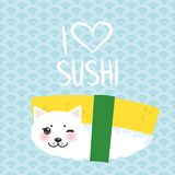 I love sushi. Kawaii funny Tamago Sushi Sweet Egg and white cute cat with pink cheeks and eyes, emoji. Baby blue background with j royalty free illustration