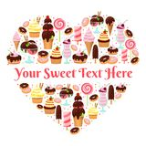 I Love Sweets heart shaped vector design Royalty Free Stock Photos