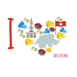 I love Switzerland. Symbol heart of cheese and Alps, Bank and mo Royalty Free Stock Photos