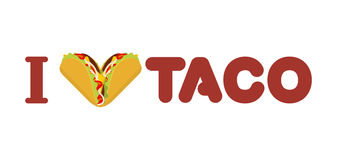 I love taco. Heart symbol of Mexican food. Tortilla chips and on Stock Photography