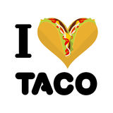 I love taco. Heart symbol of Mexican food. Tortilla chips and on Royalty Free Stock Photography
