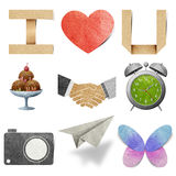 I love tag recycled paper craft. Stick on white background stock photos
