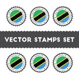 I Love Tanzania, United Republic of vector stamps. Royalty Free Stock Images