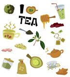 I love tea. A set of tea icons/cliparts on white background Royalty Free Stock Photography