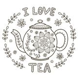 I Love Tea illustration for coloring book or print Stock Photos