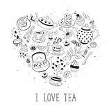 I love tea poster. Tea time poster concept. Tea party card design. Hand drawn doodle illustration with teapots, cups and sweets. Tea time objects in heart shape Stock Images
